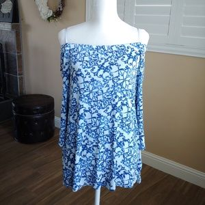 Travelers Chico's Blue Off Shoulder Top Sz 2 Large